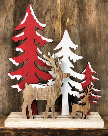 Forest Christmas Scene Reindeer & Trees Christmas Wood Ornament - Red